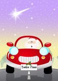 Santa Claus on car. Illustration of Santa Claus on car royalty free illustration
