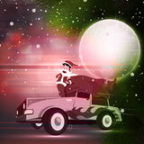 Santa Claus on car for Merry Christmas celebration. Royalty Free Stock Image
