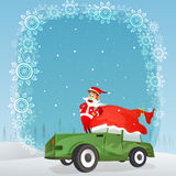 Santa Claus on car for Merry Christmas celebration. Royalty Free Stock Images