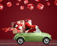 Santa Claus on car Royalty Free Stock Photos