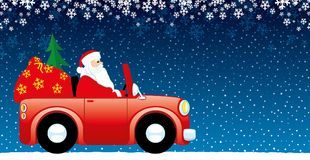 Santa claus in the car. Santa Claus in the car with gifts Royalty Free Stock Photography