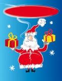 Santa claus card. Santa claus talking - presents and stars Royalty Free Stock Photos
