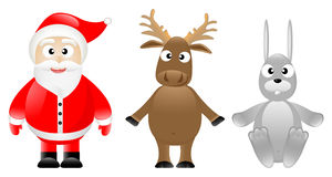 Santa Claus, caribou and rabbit Royalty Free Stock Photos