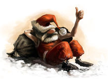 Santa Claus caricature. Character, laying on the ground and taking a nap. Digital painting using ipad and painter royalty free illustration