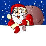 Santa Claus caring gifts banner Stock Images