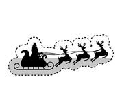 Santa claus carriage with reindeer flying isolated icon Royalty Free Stock Photography