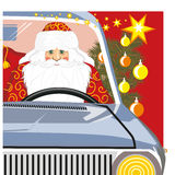 Santa Claus carries a bag with gifts on machine. Santa Claus carries a bag with gifts on the machine. Christmas vector illustration Stock Photo