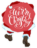 Santa Claus carries bag with gifts. Merry Christmas. Lettering text for greeting card Stock Photo