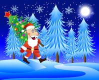 Santa claus carries the decorated christmas tree Royalty Free Stock Photo