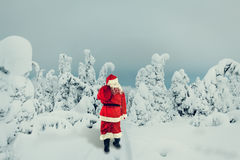 Santa Claus carries gifts. Santa Claus with a bag of gifts goes in the winter forest Stock Photography