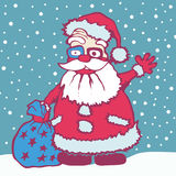 Santa Claus carries his bag Royalty Free Stock Photo