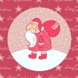 Santa Claus carries his bag, vector illustration Stock Photography