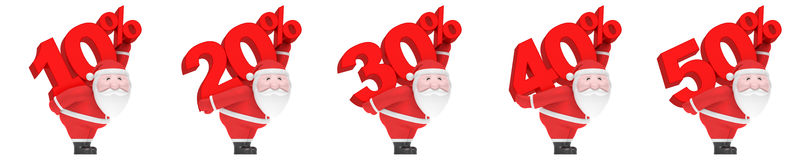 Santa Claus carries number and percent 10, 20, 30, 40, 50%. Christmas sale season set. Smiling funny charming plump Santa Claus carry on back big red number and vector illustration
