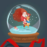 Santa Claus Carry Big Sack On Reindeer Wish Glass Ball Greeting Card Happy New Year Stock Images
