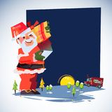 Santa Claus carry gift box and looking his phone for list of people to shipping. Express Delivery, delivery man. Merry Christmas a. Nd happy new year concept Stock Images
