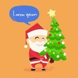 Santa Claus Carry på nytt år för julgran Arkivbild