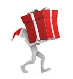Santa Claus Carrying Bag. Santa Claus carrying the big red gift Royalty Free Stock Image