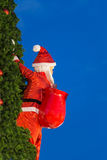 Santa Claus carrying a bag on the Christmas tree Stock Images