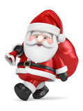 Santa Claus carrying bag of gifts Stock Photography