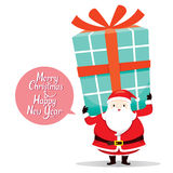 Santa Claus Carrying Big Gift Box On The Back Royalty Free Stock Photo