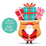 Santa Claus Carrying Big Sack With Gift Box On Back Stock Images