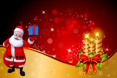 Santa claus carrying blue color gift box Royalty Free Stock Photography