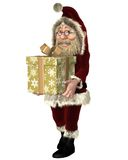 Santa Claus Carrying a Christmas Present. Happy Santa Claus carrying a christmas present tied with a shiny gold ribbon, 3d digitally rendered illustration Stock Image