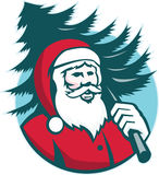 Santa Claus Carrying Christmas Tree Retro. Illustration of santa claus kris kringle carrying a christmas tree on shoulder facing front set inside circle done in royalty free illustration