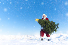 Santa Claus Carrying Christmas Tree on Snow Covered Mountain Royalty Free Stock Images