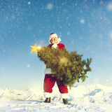 Santa Claus Carrying Christmas Tree on Snow Covered Mountain Stock Photos