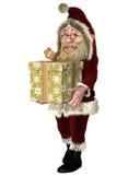 Santa Claus Carrying ein Weihnachtsgeschenk Stockbild