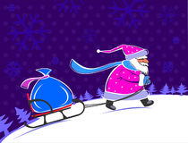 Santa Claus carrying a gift. Carrying gifts on sled stock illustration