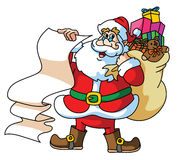 Santa Claus Carrying The Gift Stockfotos