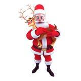 Santa claus carrying reindeer Stock Photo