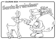 Santa Claus carrying sack of gifts & reindeer - Christmas - Coloring draw Stock Images