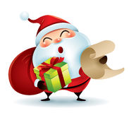 Santa Claus carrying sack and holding a list and gift Royalty Free Stock Image