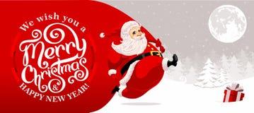 Santa Claus carrying sack vector illustration