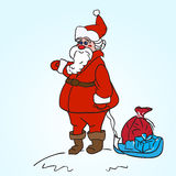 Santa Claus Carrying. A Toy Sack Royalty Free Illustration