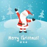 Santa Claus. Cartolina di Natale di vettore. Fotografie Stock