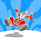 Santa Claus Cartoon. Happy Santa Claus and snow illustration Stock Images