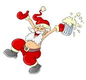 Santa Claus Cartoon. Drunk Santa Claus with beer Royalty Free Stock Photos