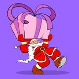 Santa Claus Cartoon. Santa Claus with gigantic gift illustration Royalty Free Stock Photography