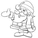Santa Claus Cartoon. Cute Santa Claus in line art Stock Image