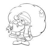 Santa Claus Cartoon. Cute Santa Claus with bag Stock Photo