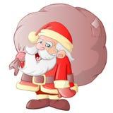 Santa Claus Cartoon. Cute Santa Claus with bag Stock Photos