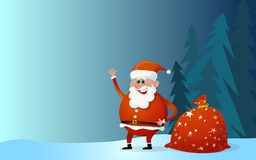 Santa Claus cartoon  with  bag of the presents Royalty Free Stock Photography