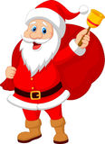 Santa Claus cartoon with bell carrying sack Royalty Free Stock Photo