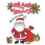 Santa Claus Cartoon Character avec les cadeaux et le sac illustration libre de droits