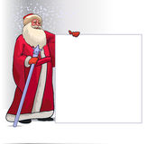Santa Claus Cartoon Character for Christmas. Santa Claus or Ded Moroz Cartoon Character for Christmas Holding Blank Board Isolated in White Background. Vector Royalty Free Stock Photo
