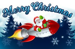Santa Claus Rocket Merry Christmas Forest Cartoon. Santa Claus cartoon character in his space rocket sleigh flying over a winter wonderland snowy landscape with stock illustration